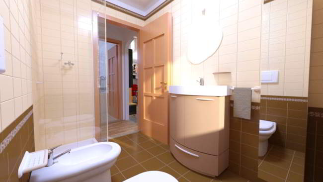 Rendering interni con arredamento fotorealistici - Rendering bagno ...