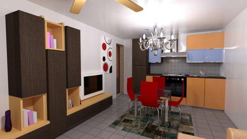 Rendering interno cucina con arredamento for Rendering arredamento
