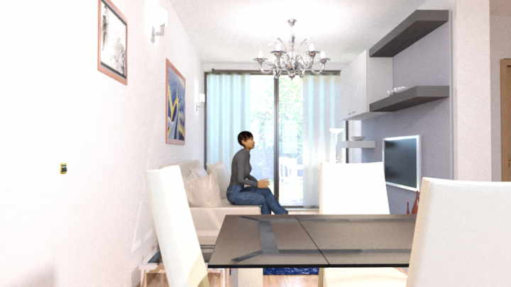 rendering interno salotto